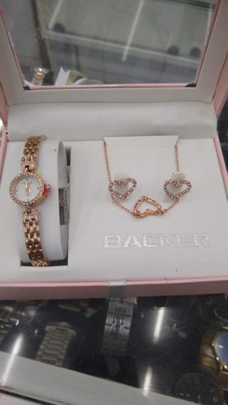 Relógio Backer Feminino Kit 34460030 Original Barato