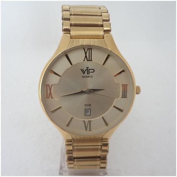 Relógio Vip Quartz Feminino Dourado Ouro Original 12x S/j