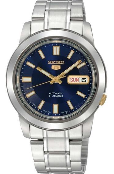 Reloj Seiko Snkk11k1 Automático Plateado-azul De Caballero