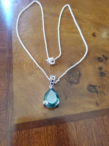 Collar Con Moissanita Diamante Azul 5.55cts