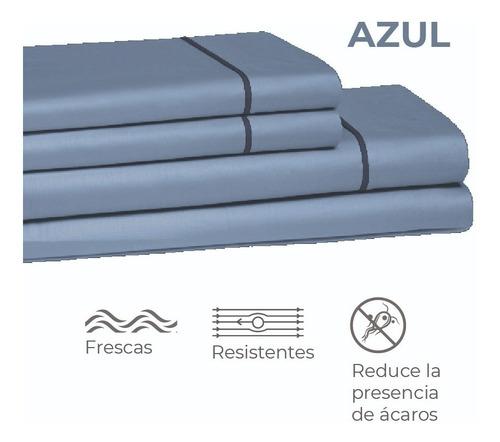 Juego De Sábana Nuvola Microfibra Azul Sencillo