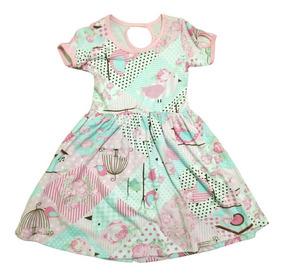 Kit 04 Vestidos Infantil Menina Estampados Princesa Algodão