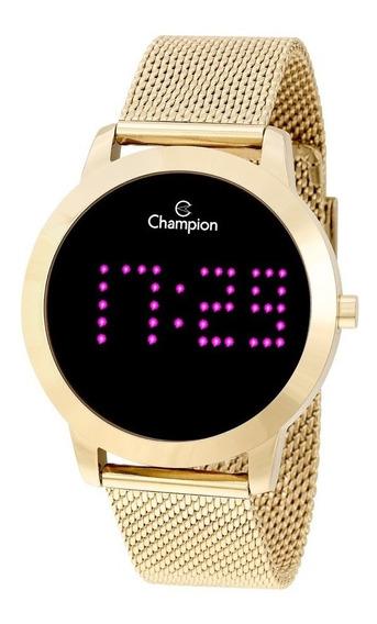 Relógio Feminino Dourado Digital Champion Led Rosa Pink 18k
