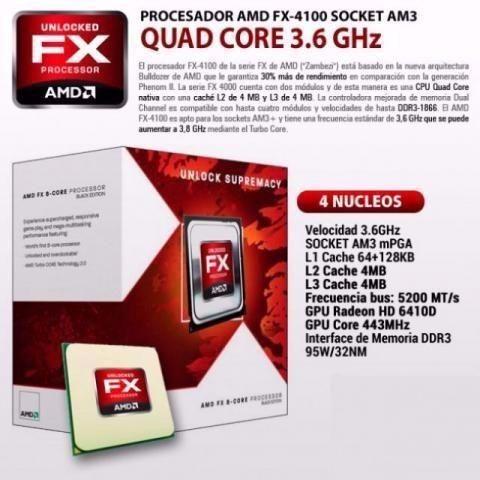 Processador Amd Bulldozer Fx-4100 3.6ghz 12mb Am3 Black Edit