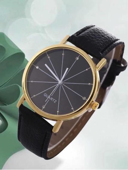 Relógio Quartz Social Pulseira Couro Luxo