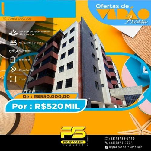 Apartamento Com 3 Dormitórios À Venda, 121 M² Por R$ 520.000 - Areia Dourada - Cabedelo/pb - Ap4268