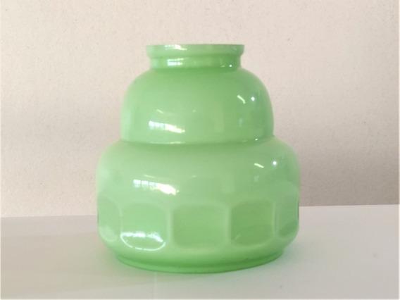 Cúpula Antiga Lustre Abajur Opalina Verde Anos 40 Diâm 12 Cm
