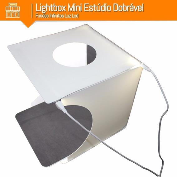 Lightbox Mini Estúdio Dobrável Fundos Infinitos Luz Led