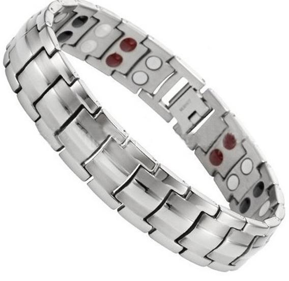 Pulseira Masculina Magnetica Bracelete Prata Com Garantia