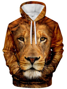 Hoodie Homens Estampa Animal