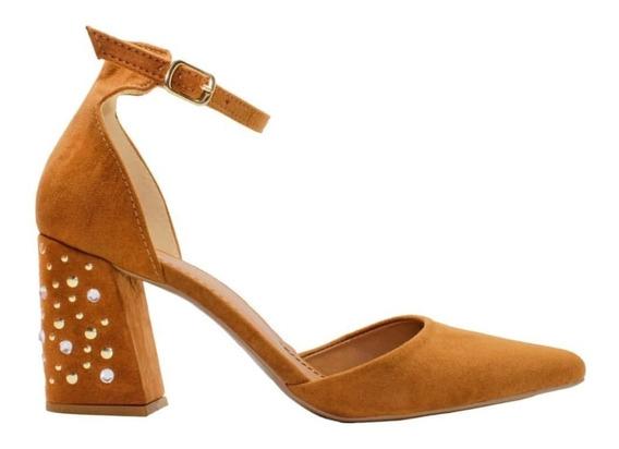 Sapato Bico Fino Salto Grosso Capry Caramelo - Ana Kross