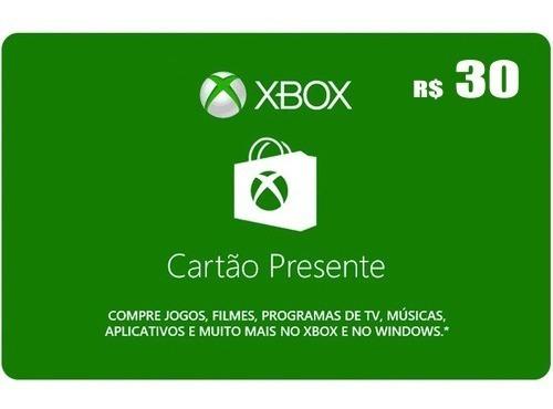 Microsoft Gift Card R$30 Cartão Presente Xbox Live Br Brasil