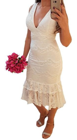 Vestido Renda Branco Noiva Casamento Mini Wedding Ensaio Fot