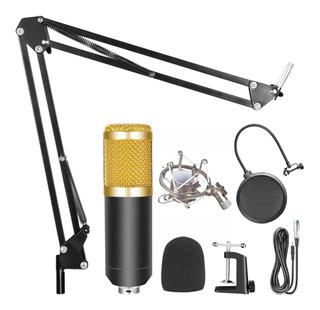 Combo Grabacion Radio Microfono Condenser Fitro Araña