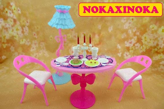 Sala De Jantar + Pratos Comidinha Para Casa De Boneca Barbie
