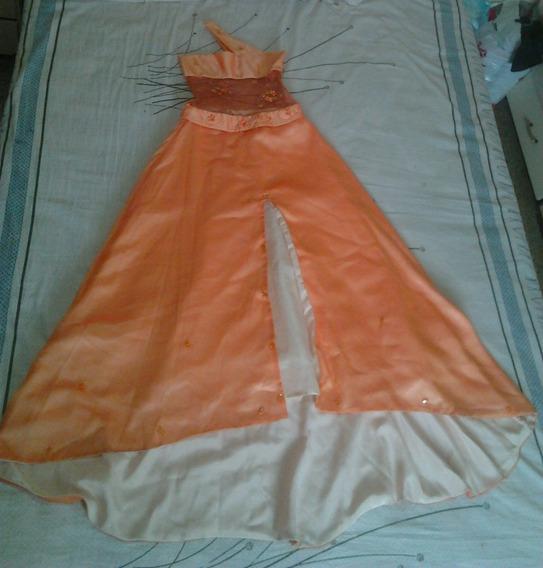 Vestido Largo De Dama Color Melon Talla S Con Pedreria