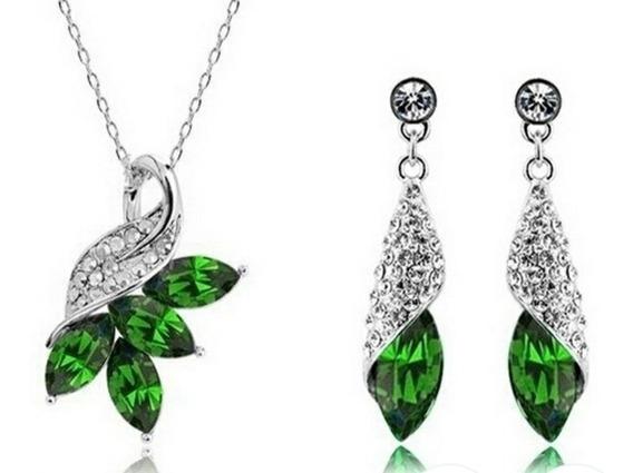 Colar+brincos Feminino Prata 925 Pedra Ametista Verde.
