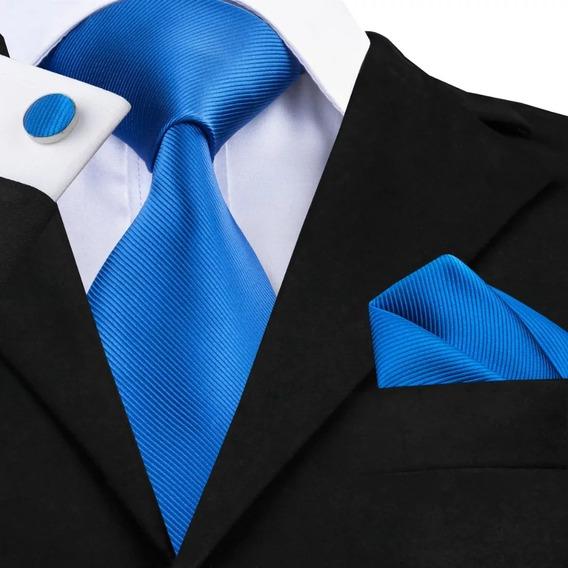 B850 Seda   Corbata Pañuelo Mancuernillas   Azul Rey   Buen Regalo