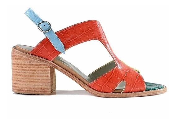 Sandalia Cuero Mujer Briganti Zapato Taco - Mcsd04793 45