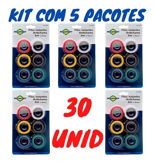 Fita Isolante Colorida Kit C/ 30 Antichama 5mx19mm Brasfort
