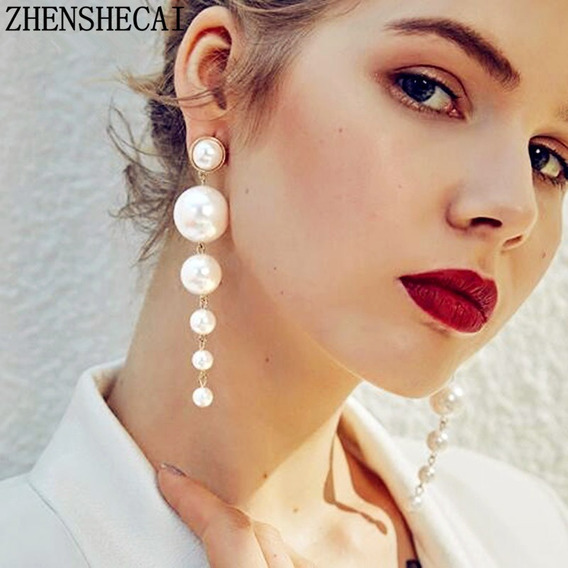 Aretes Largos Elegante De Corea Con Muchas Perlas Para Dama