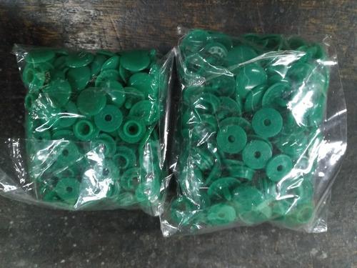 Imagen 1 de 3 de 100 Broches Presion Plastico * 15/13 Mm * Verde Grey *condal