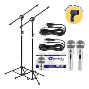 Kit 2 Pedestais + 2 Microfones Mdc201 Harmonics + 2cachimbos