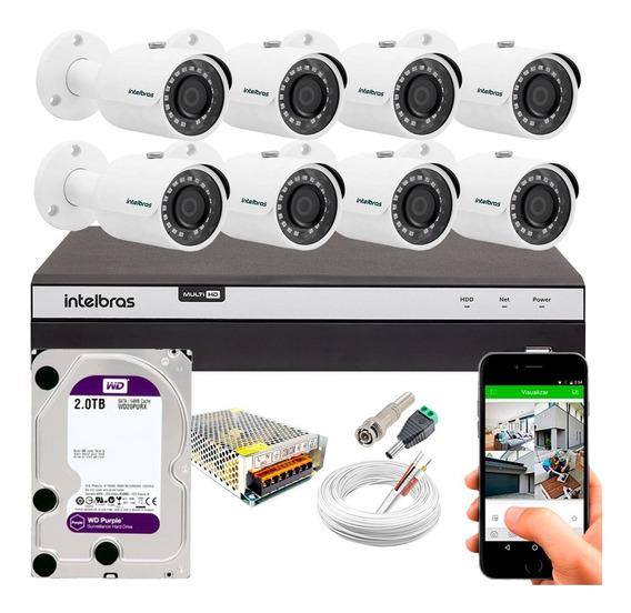 Kit 8 Câmera Segurança Residencial Dvr Intelbras Full Hd Tf