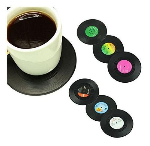 Morecome 6pcsset Spinning Retro Disco De Vinilo Bebidas Posa