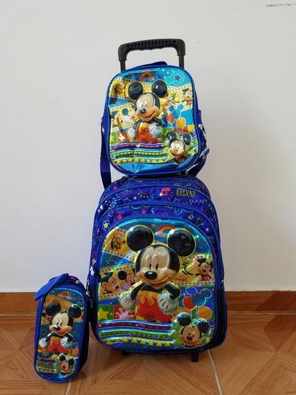 Kit Mochila Infantil Mickey Mouse Lancheira Rodinhas 3d