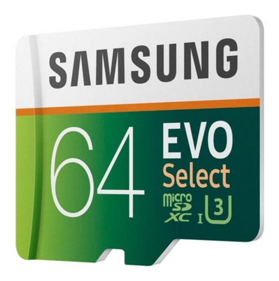 Cartão De Memória Microsdxc 64gb Samsung Evo Select (classe 10, Uhs-3, C/ Adaptador) - Mb-me64ga/am