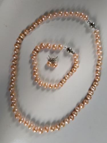 Conjunto Colar +pulseira + Brincos De Perolas Naturais Rosa