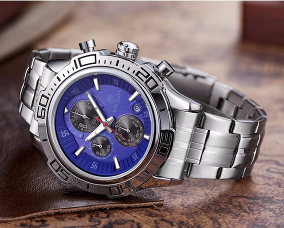 Relógio Masculino De Luxo Prata Megir Homens Elegantes