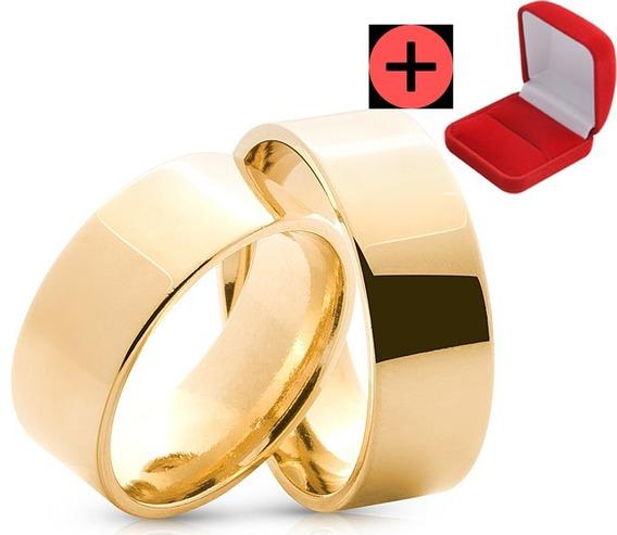 Alianças Banhada Ouro 18k Tradicional Noivado Casamento Anel