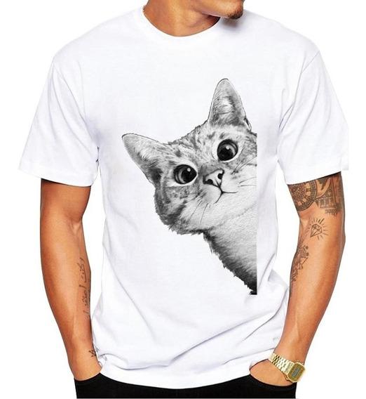Playera Gato Asomándose Lindo Cat Cute Real Adoptala!