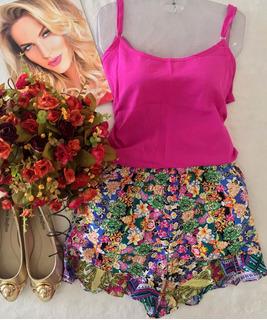 Short E Blusa De Alcinha Pink Tam Unico