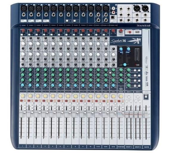 Mesa De Som Analógica Soundcraft 16 Canais Signature 16