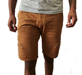 Bermuda Jeans Destroyed Rasgada Masculina 6 Cores#verao