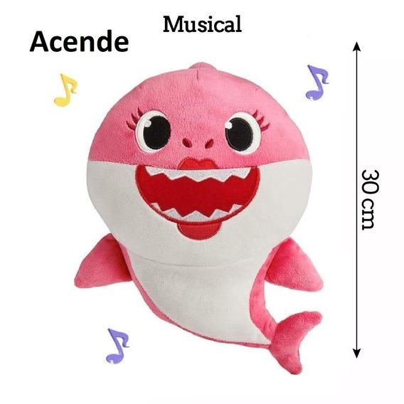 C/bateria/musical/4 Led/pelúcia Bebê Tubarão Baby Shark Rosa