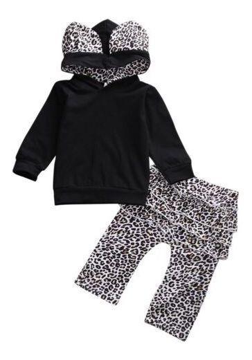 Pantalones Para Recién Nacido, Niña, Leopardo, Con Capucha