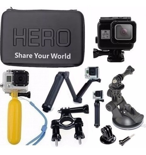 Kit Gopro Hero 5 Hero 6 Hero 7 Tripé 3 Way Estanque Preta