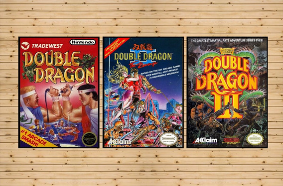 Conjunto 3 Quadros Decorativos Trilog Double Dragon Nintendo