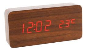 Relógio Despertador Mesa Digital Tipo Madeira Com Sound Cont