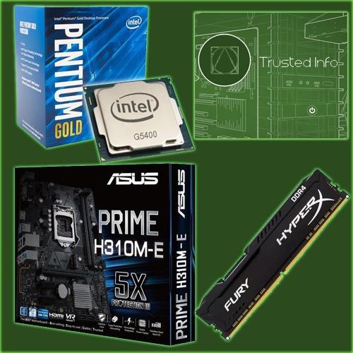 Kit Intel Pentium G450 Gold + Asus Prime H310m + 8gb Kingston Hyper-x Ddr 4
