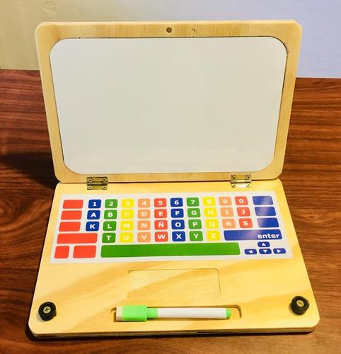 Pizarra Notebook Compu Infantil En Madera Pizarra Marcador