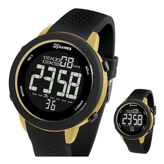 Relógio X-games Digital Redondo Preto Dourado Xmppd474