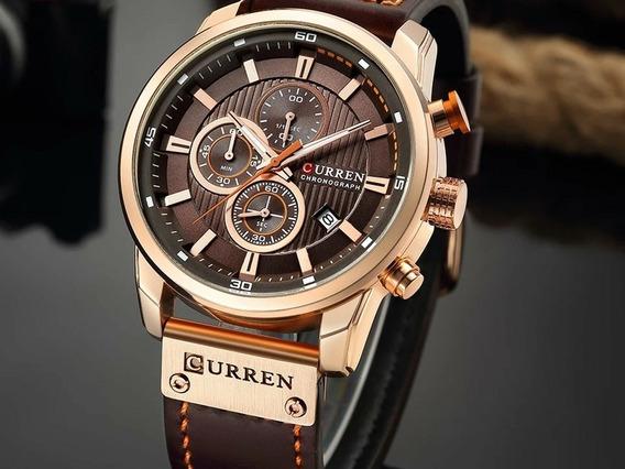 Relógio Masculino Luxo Pulseira Couro Original Frete Gratis