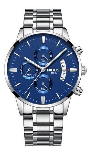 Relógio Masculino Nibosi 2309 Prata Com Azul Original