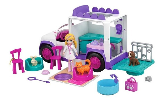 Nova Polly Pocket Hospital Móvel Dos Bichinhos Mattel