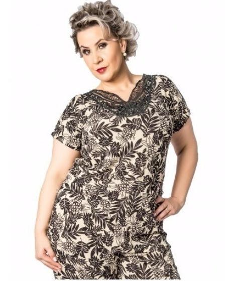 Macacão Feminino Comprido Estampado Plus Size